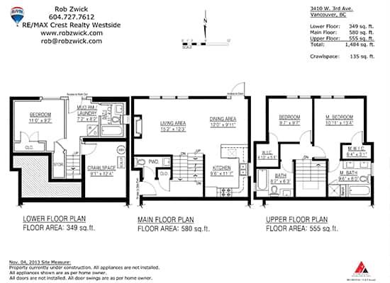 kitsilano half duplex floorplan vancouver