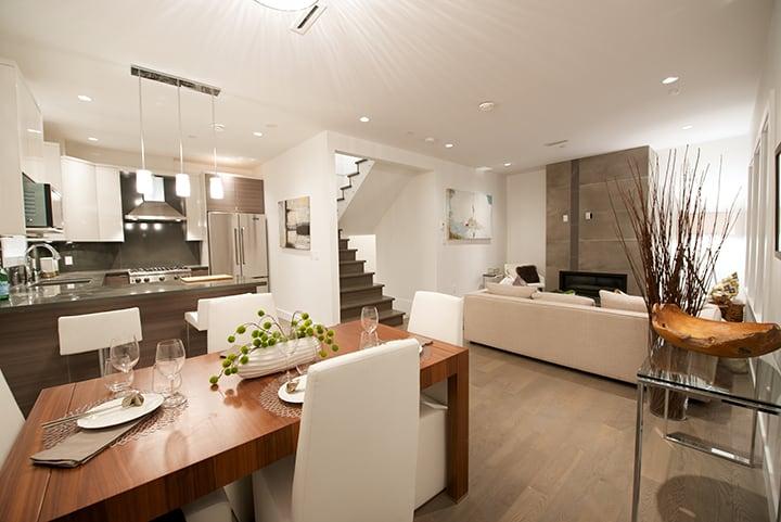 dining area living room in half duplex kitsilano vancouver